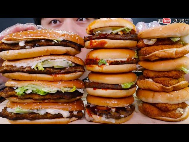 맥도날드 버거킹 롯데리아 신상버거 총집합! 사각새우더블버거 & 고추장불고기버거 & 행운버거 McDonald's & BURGERKING & LOTTERIA MUKBANG
