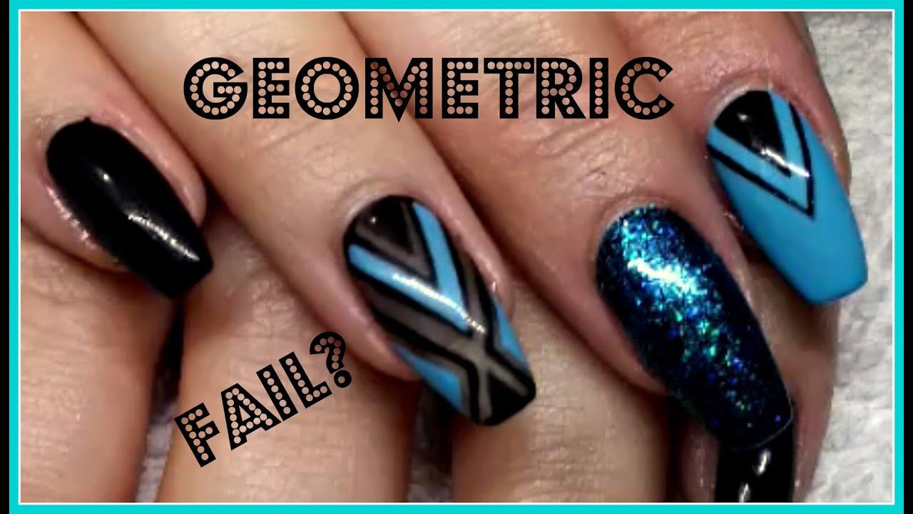 Nail Art Black And Blue Geometric Design Gel Polish Youtube