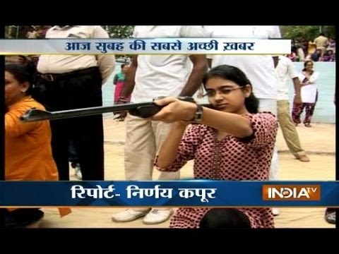 Women in Gujarat getting trained to shoot rifle