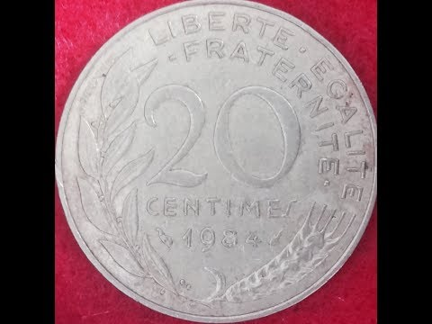 20 Centimes Coin Of France Dated 1984