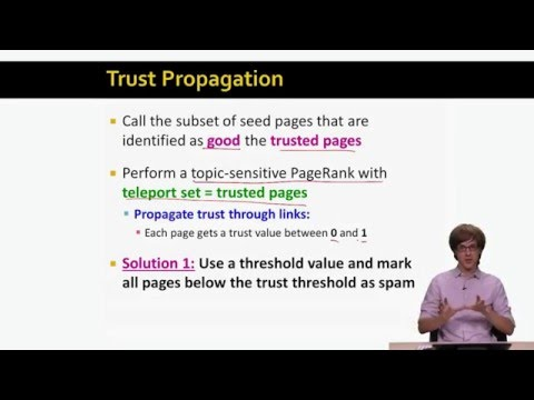 Lecture 94 — Trust Rank | Mining of Massive Datasets | Stanford University