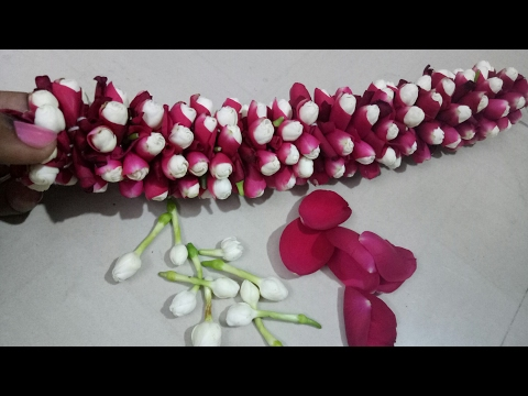 How to string rose petals + jasmine garland??