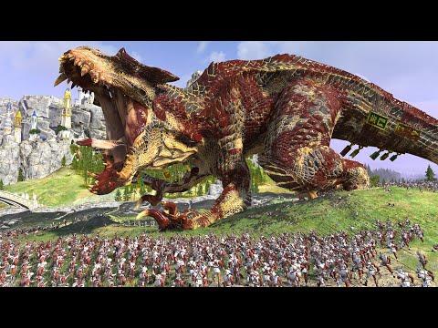 1 T-rex VS 10000 Spearmen cinematic battles|total war warhammer 2 animations |