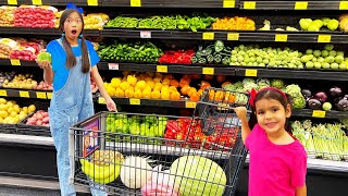 Wendy and Ellie Go Grocery Shopping  Kids Learn Healthy Food Choices