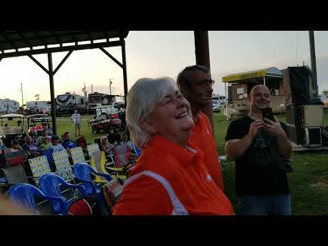 Vic Adams thanking his staff at Mandolin Farm Bluegrass Festival 2019