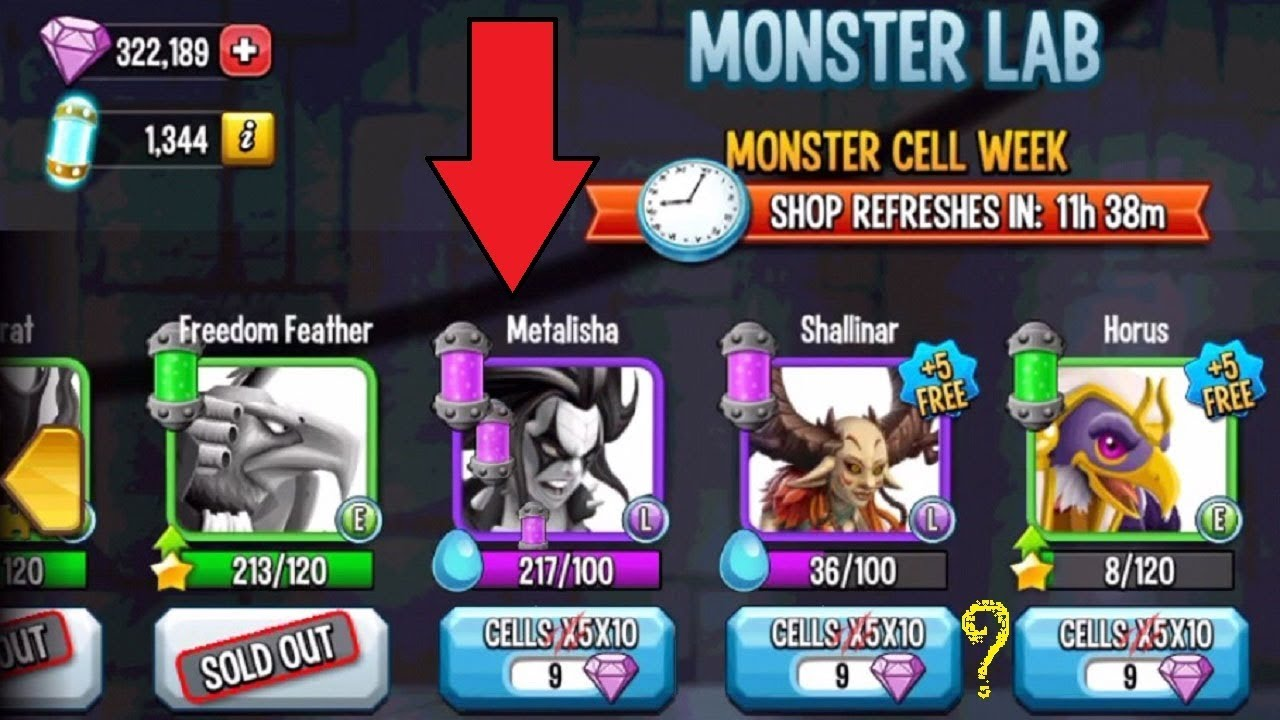 Monster Legends - Cell Week 346 gems Legendary 190 for Epic Upcoming Event