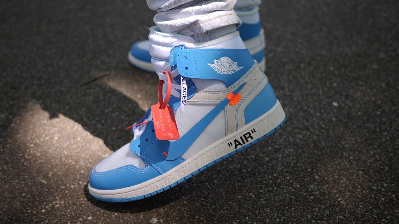 buy popular 69738 2e3f2 Nike x Virgil Abloh s Off White  The Ten  Air Jordan 1 UNC Quick Look   On  Feet