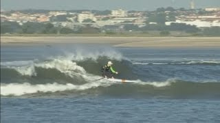 World record-holding surfer rides 'Gasoline' waves in Portugal