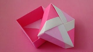 Origami Unit box(2) with lid instructions 折り紙のユニット箱(2) 簡単な折り方