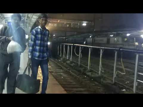 Night rush on platform number 1 of pune junction with CSTM-CST SAYADRI EXP arrives with announcement