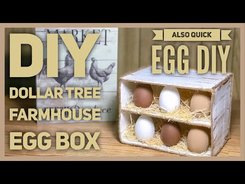 DIY Dollar Tree Farmhouse Wood Egg Box Display - Also Quick Egg DIY - Farmhouse Kitchen Decor