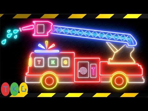 Xe Cứu Hỏa - Fire Truck | Dạy Bé Vẽ Xe Phát Quang | TopKidsGames (TKG) 390