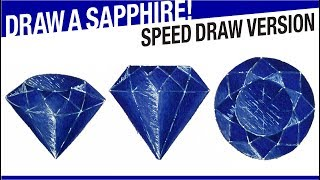 Speed Draw Version - How To Draw A Sapphire! Blue Sapphire Drawing!