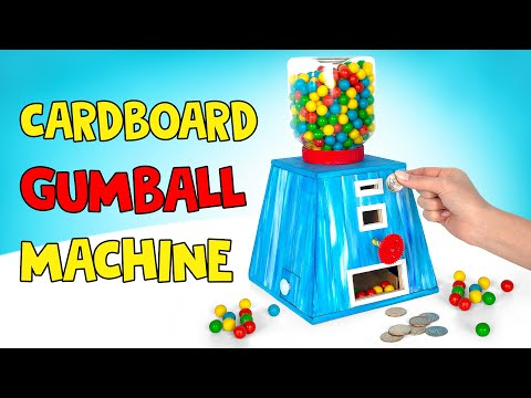 How To Make Cardboard GUMBALL MACHINE WITH COINS! 🍬