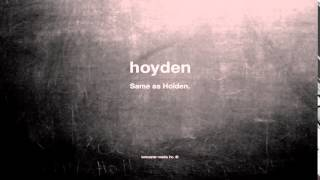 What does hoyden mean