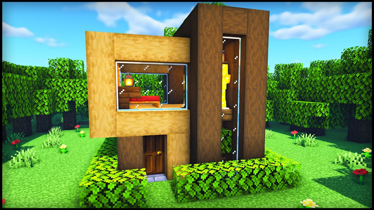 Minecraft Easy Small Modern House How To Build A Wooden House In Minecraft Tutorial Youtube