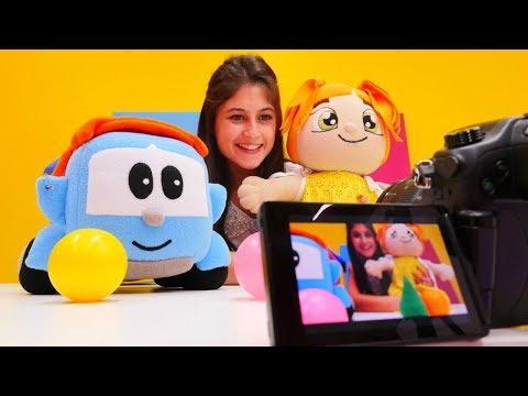 Sürpriz video 💓. Ayşe ve Lili Küçük Kamyon Leo'nun stüdyosunu geziyorlar 🎥. Eğitici çocuk video