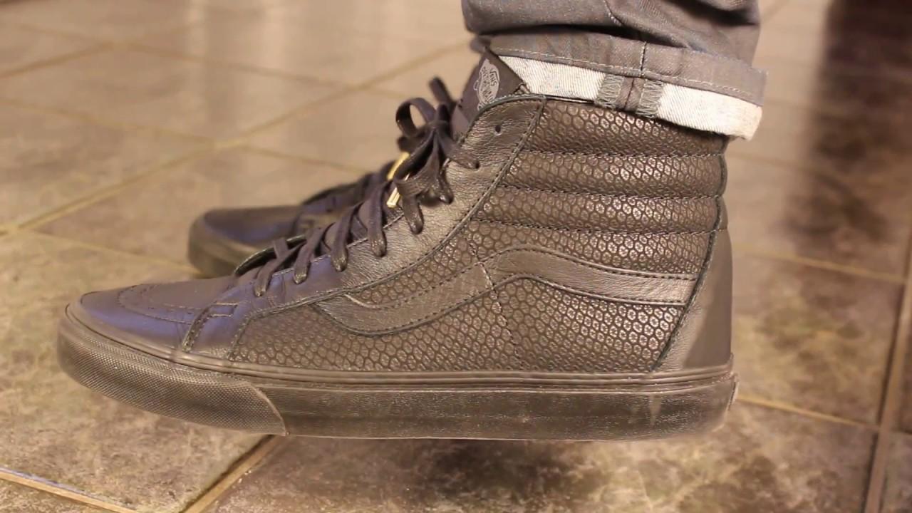 202b39681b Vans sk8-hi reissue Snake Leather - Black ON FEET - YouTube