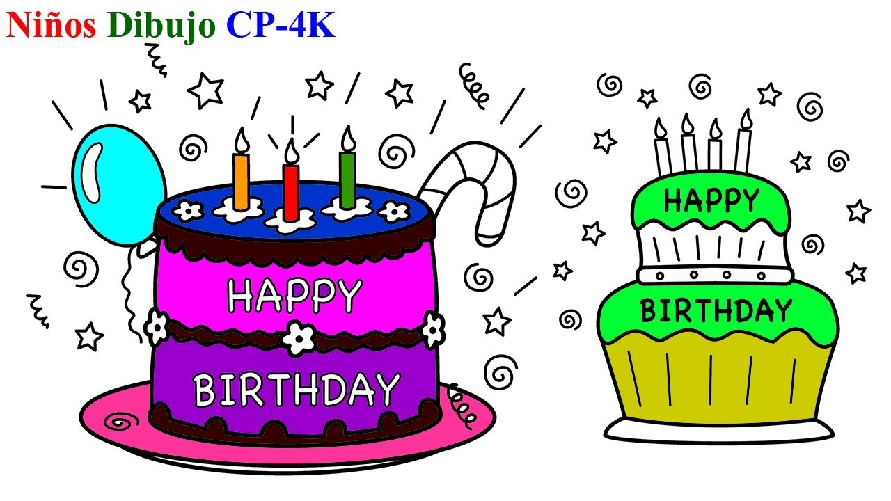 Pasteles de Cumpleaños para colorear | Cómo dibujar Pasteles de ...