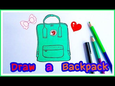 How to Draw a Fjallraven backpack. วาดรูปเป้สะพายหลัง เท่ๆ วัยรุ่น: FJALLRAVEN