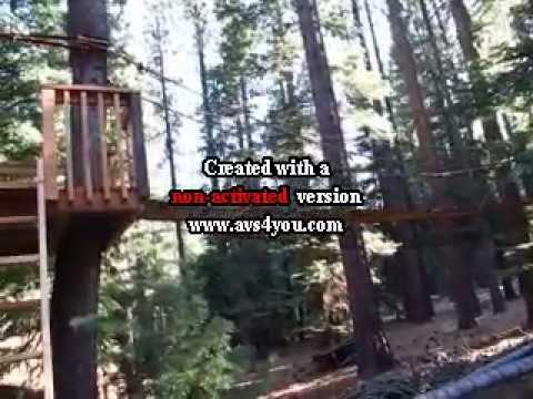 Making of back yard suspension bridge - YouTube