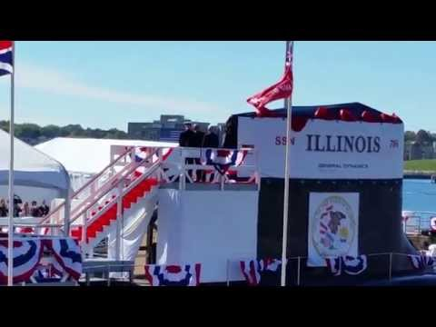 Michelle Obama Christens the USS Illinois (takes 3-4 swings) lol