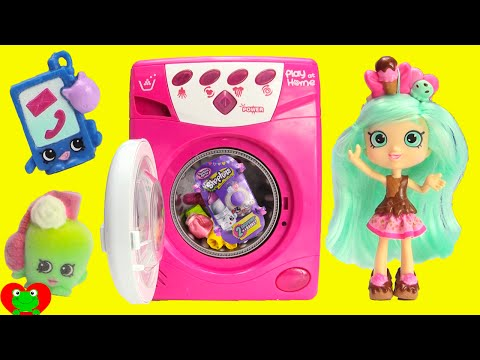Washing Machine Surprises with Shopkins Peppamint and Fashion Spree
