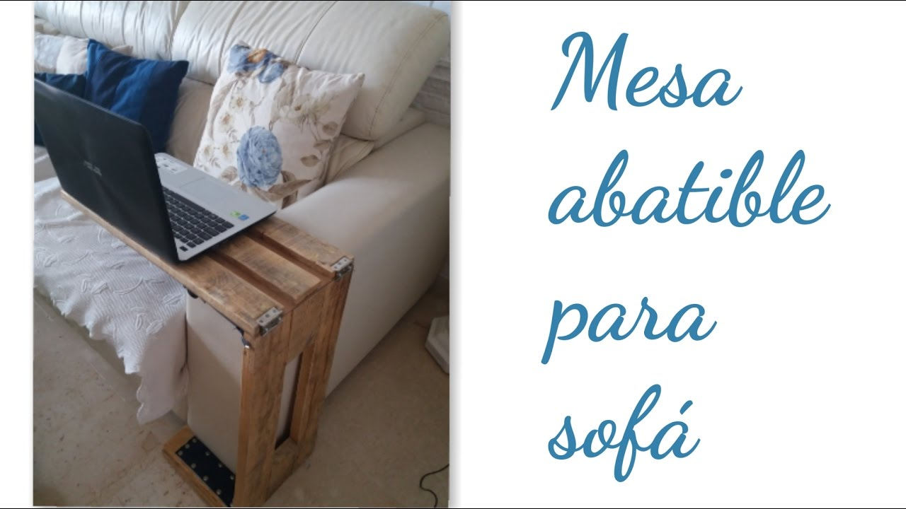 Muebles con palets mesa abatible para el sof youtube for Mesa plegable para sofa