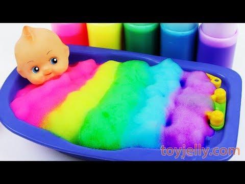 Learn Colors Ba Doll Body Paint Color Foam Bubble Bath Time Suprise Eggs Ba Finger Family Song