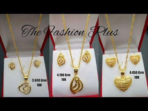 Saudi 18k Gold Light Weight Necklaces Sets Designs With Weight Gold Chain Pendants And Earrings Youtube