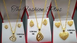 Saudi 18k Gold Light Weight Necklaces Sets Designs with Weight |Gold Chain Pendants and Earrings