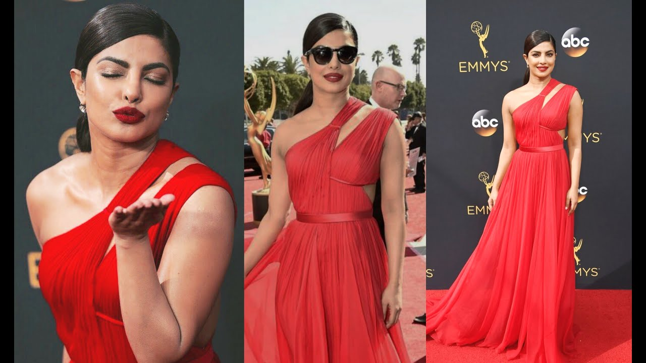 Priyanka Chopra Hot In Red Dress At Emmy Awards 2016 Carpet