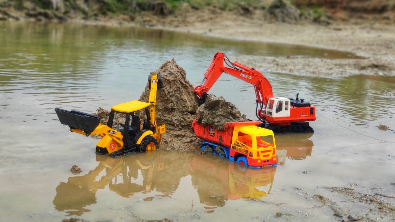 Jcb Excavator Loading Village Mud Hyva Truck | Ford Tractor | Dump Truck | kids video
