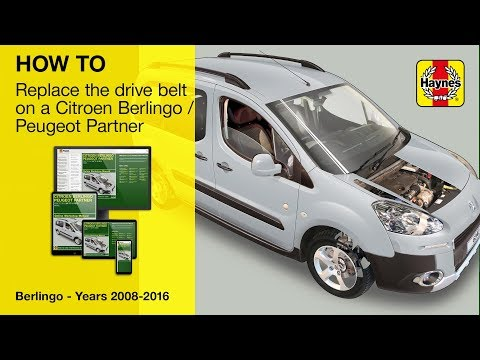 How to replace the drive belt on a Citroen Berlingo and Peugeot Partner 2008-2016 diesel models