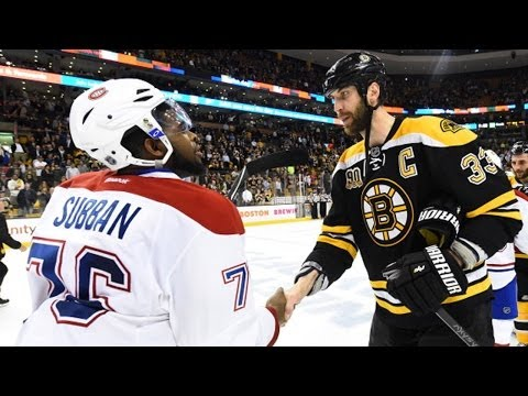 Canadiens and Bruins handshake