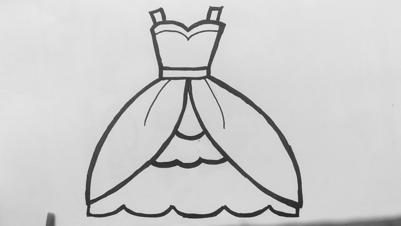 Cách vẽ váy công chúa – how to draw princess dress step by step