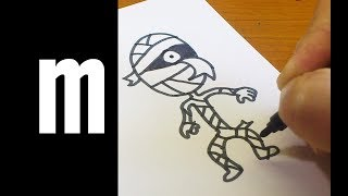 """How to Draw Doodle Using Letters """"M m"""" for kids ! Alphabet Surprise drawing cartoon"""