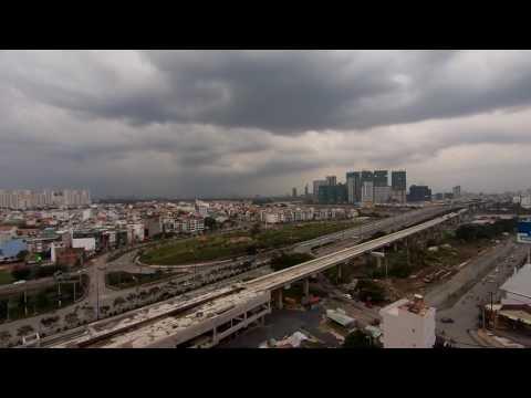 Evening rain on Saigon Bridge HCMC (time-lapse)