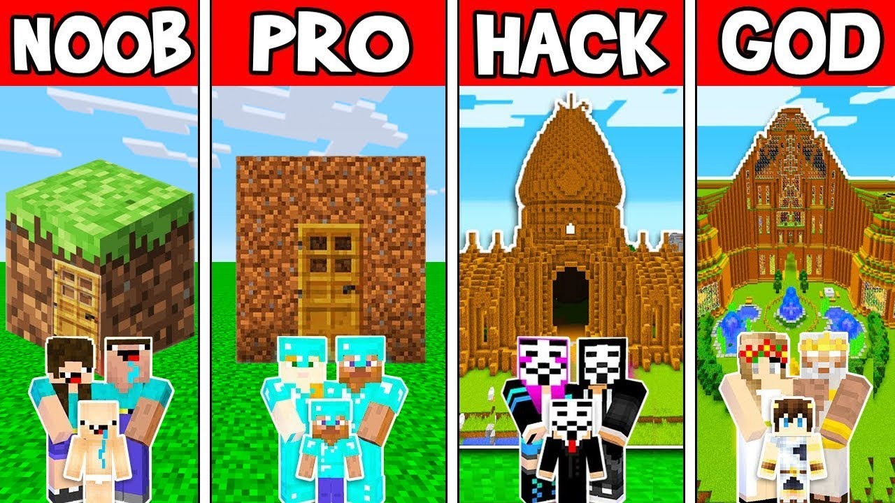 Minecraft: FAMILY DIRT HOUSE BUILD CHALLENGE-NOOB vs PRO vs HACKER vs GOD в Minecraft