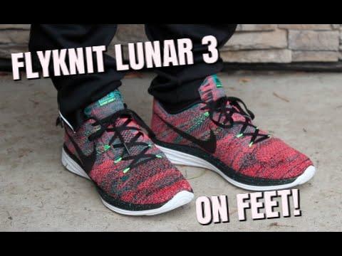 1891209fb2e4 Nike Flyknit Lunar 3 Fireberry ON FEET! - YouTube