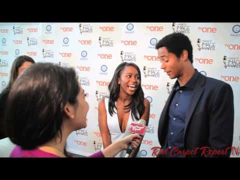 Aja Naomi King & Alfred Enoch at the 46th NAACP  Awards Nominations  naacpaward