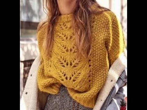 Вязание спицами желтый пуловер