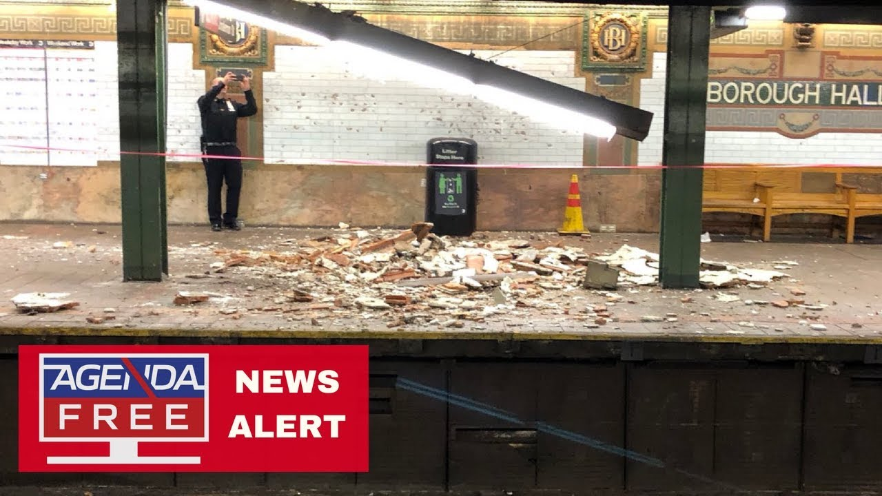 Part of ceiling collapses at Brooklyn's Borough Hall subway station