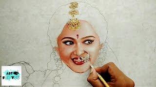 Anushka Shetty Speed Painting | Devasena time lapse painting - oil painting | Anushka Shetty Drawing