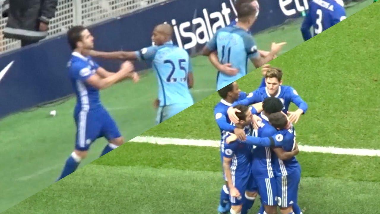 Chelsea Vs Man City: FABREGAS VS FERNADINHO FIGHT! MANCHESTER CITY 1