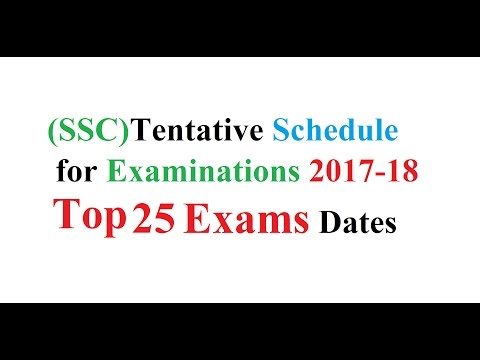 SSC  Schedule For Examination 2017-18 (Top 25 Exam)