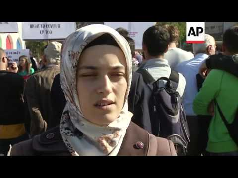 Women protest against Islamic headscarf ban