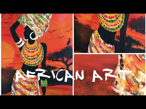 African woman Art, African sunset art, woman painting, african inspired