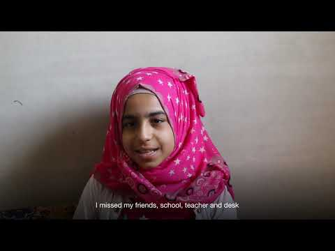 Sidal, a 12-year-old girl who has gone back to school after three years of displacement in Syria