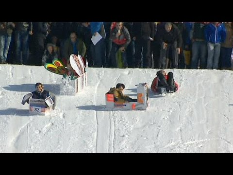 Cardboard sled race - no comment